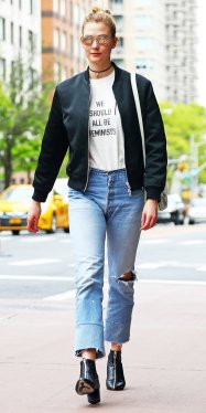 *EXCLUSIVE* Karlie Kloss steps out wearing a feminist slogan t-shirt